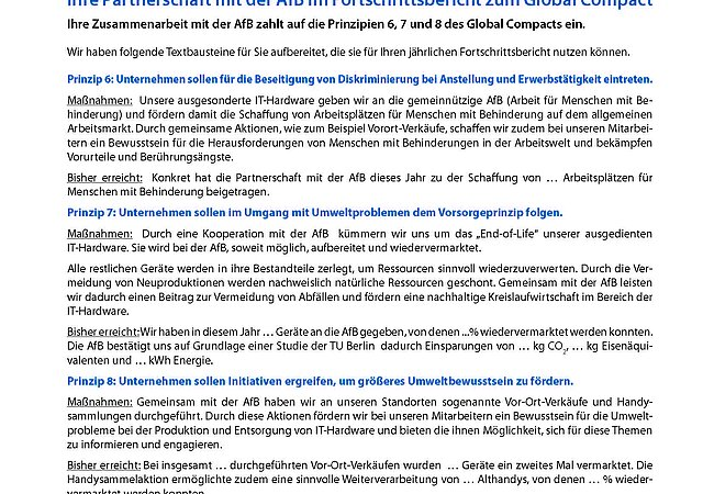Flyer Textbausteine Global Compact