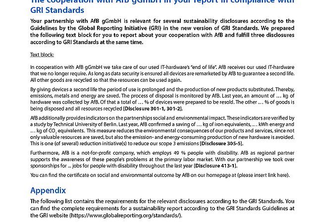 Flyer englisch Text block GRI Standards